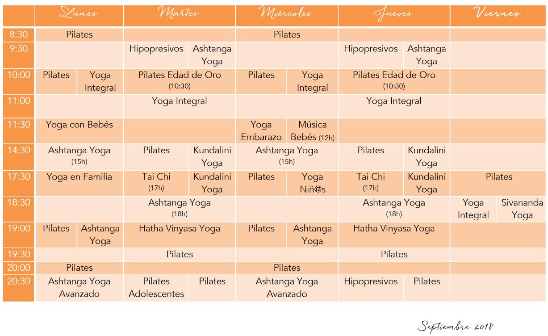 Horario de Septiembre en Armonía y pilates Yoga Valencia