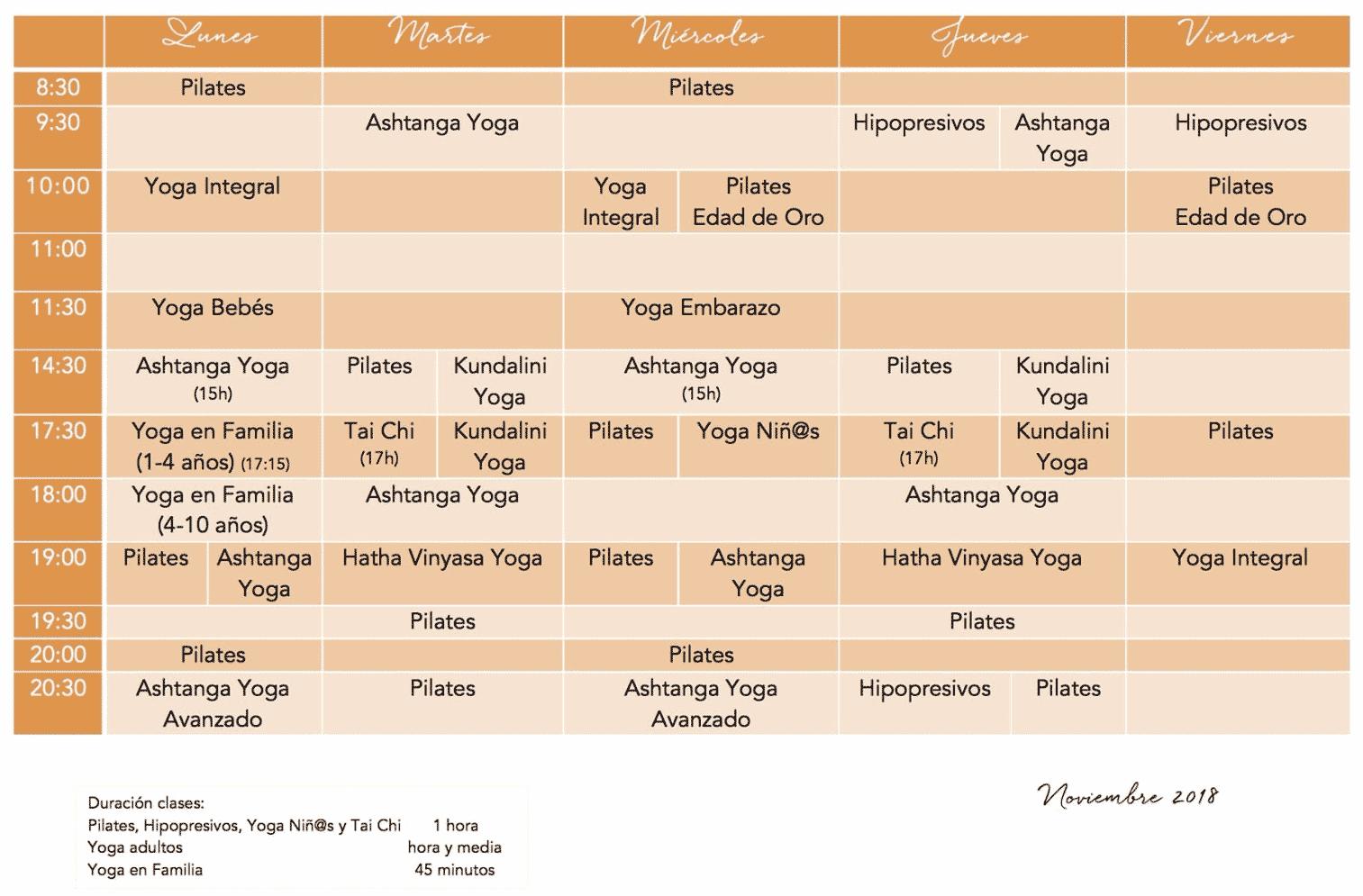 Horario de Noviembre en Armonía y pilates Yoga Valencia